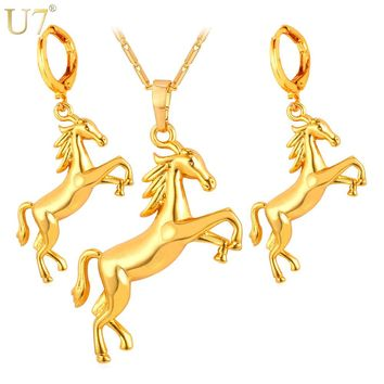 U7 New Dubai Gold Color jewelry Set Trendy Lucky Animal Charm Horse Earring Necklace Sets For Women Gift S853