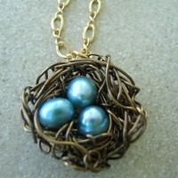 Birds Nest Pendant -A Mother Awaits | KottageKreations - Jewelry on ArtFire