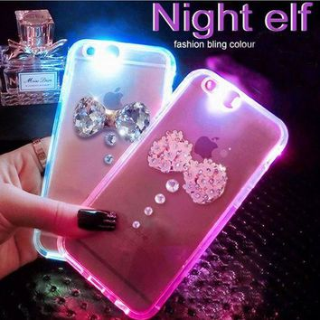 Day-First™ Cool Light-up Luminous Diamond Bow Case for iPhone 6 6s Plus