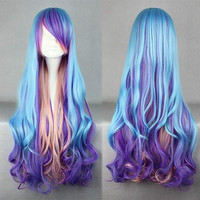 80cm long women blue mix color wig curly weave anime cosplay wigs,Colorful Candy Colored synthetic Hair Extension Hair piece 1pc WIG-312A