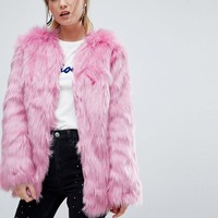 Miss Selfridge Faux Fur Coat at asos.com
