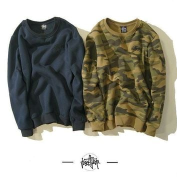 ESBONN Stussy Winter Unisex Camouflage Round-neck Long Sleeve Sports Sweatshirt