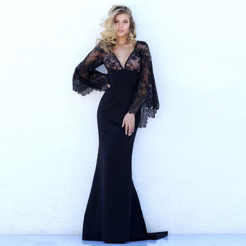 Beautiful Lace Bat Sleeves Deep V Mermaid Evening Dress