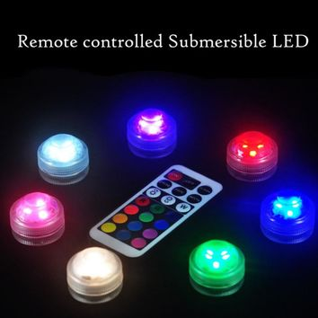 10 pcs LED Electronic Candle With Remote Waterproof Fish Tank Lamp 5 Colors