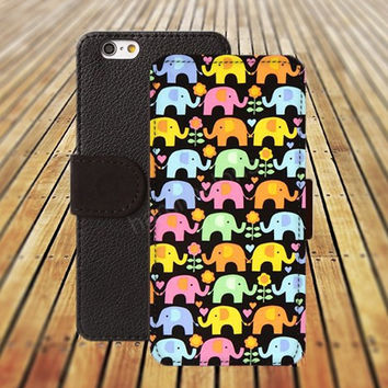 elephant flowers heart iphone 5/ 5s iphone 4/ 4s iPhone 6 6 Plus iphone 5C Wallet Case , iPhone 5 Case, Cover, Cases colorful pattern L022