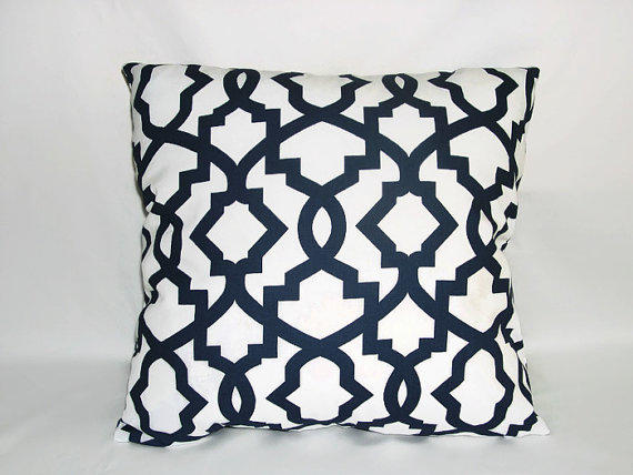 Decorative Pillows, Navy Blue And White From