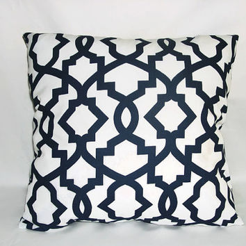 Decorative Pillows In Navy Blue : Decorative Pillows, Navy Blue and White from AntiqueAndCrafts on