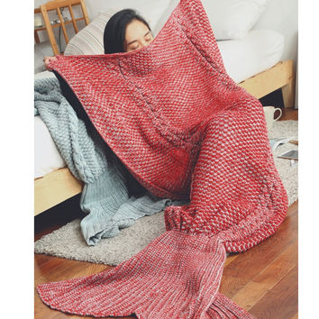 Children Womens Knitted Sofa Bedding Mermaid Tail Blanket Home +Christmas Gift