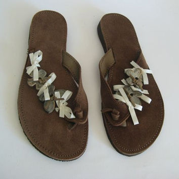 Leather flip flops! Genuine Leather handmade sandals! Womens flip flops! Sandals for woman!Brown leather sandals