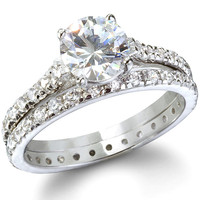 CZ Engagement Ring Set - Endless Love Sterling Silver