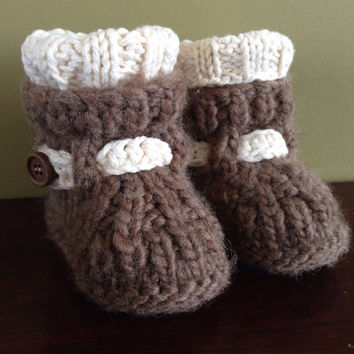 Baby Booties - Ugg Style in Alpaca & Cotton