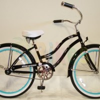"Micargi Tivola, Black with Mint Green Rims - Women's 24"" Beach Cruiser"