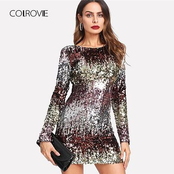 COLROVIE Iridescent Sequin Dress 2018 Round Neck Long Sleeve Sexy Party Dress With Zipper Women Sheath Autumn Short Dress