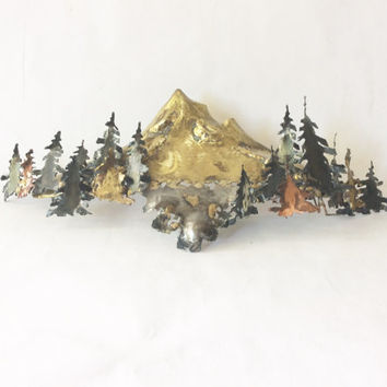 Vintage Metal Sculpture Wall Hanging Mt. Hood Trees Handmade Trees Mountains Brass Copper Silver Boho Home Accent