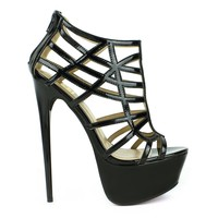 Fahrenheit Vicky-15 Cut-out Strappy Platform Pump in Black @ ippolitan.com