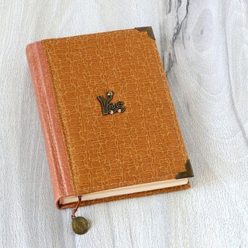 A6 fabric notebook Handmade journal Textile covered notebook Leather & fabric covered journal Personal girls diary Brown vintage notebook
