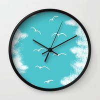 Seabirds and Clouds Wall Clock by ES Creative Designs