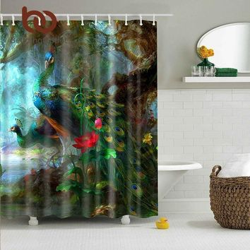 Peacocks Waterproof Polyester Fabric Shower Curtain