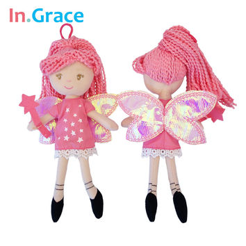 InGrace pretty fairy magic mini dolls with star wand shining wings red princess doll for girls handmade cheap little toys 23cm