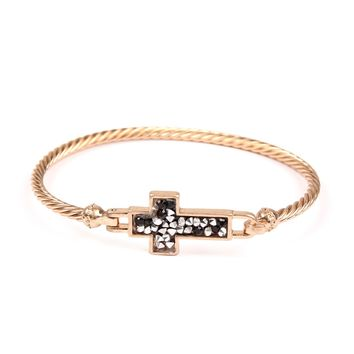 Sideways Rhinestone Glittered Cross Cuff Bracelet