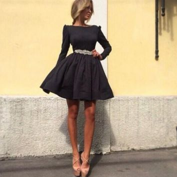 Long Sleeve Flare Tutu Dress