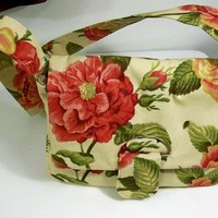 Womens Messenger Bag Purse handbag- floral Handmade-Made in the USA