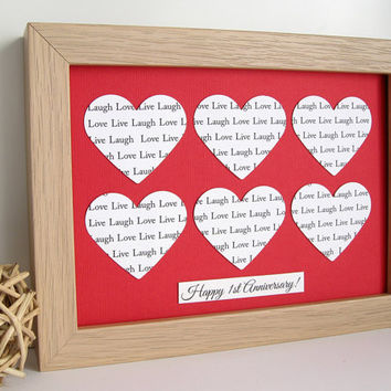 Personalised Text Heart Frame - Wedding Aniiversary Mothers Day Gift - Song Lyric Word Wall Art