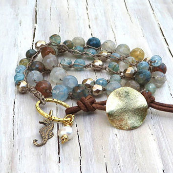 Crochet Leather Wrap, Boho Chic Jewelry, Beach Jewelry, Ocean Inspired, Triple Wrap Bracelet, Gifts for Her, Graduation Gifts Under