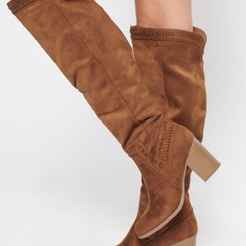 Beautiful Girl Faux Suede Boots (Chestnut)