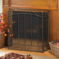 Classic Timeless Elegant Stately Tri-fold Iron Fireplace Screen
