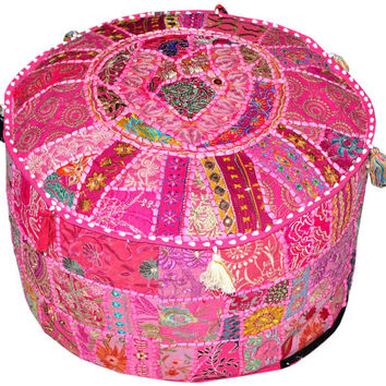 Pink Vintage Handmade Embroidered Patch work Round Ottomans Covers Poufs Footstools Bohemian Stools round orange ottoman footstool pouf