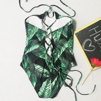 Fashion Ladies Halter Green Leaf Print Sexy Back Bandage Hollow One Piece Bikini Swimsuit