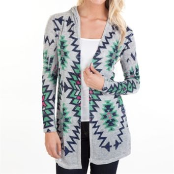 Moa Moa Juniors Printed Open Front Hooded Cardigan at Von Maur