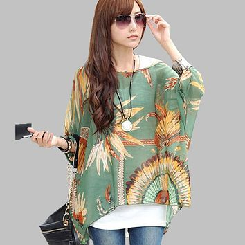 Spring Summer Women Chiffon Dress Mini Beach Bohemian Dresses Tops Plus Size 4XL 5XL 6XL Women's O neck Batwing Sleeve Tops