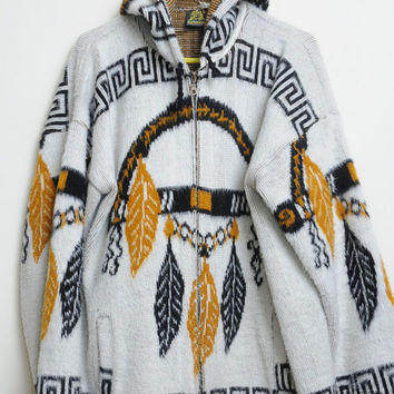 Vintage 80s/90s Wool Zip Up Tribal Ethnic Print Long Sleeve Jacket With Hood from Ecuador Unisex