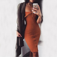 Strapless Zipped Down Bodycon Knitted Midi Dress