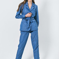 Pajama Suit Three Piece Suite Blue Suit With Trousers And Shorts Blue Suit Women Casual Suit