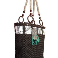 Handbag,macrame,handmade black Bag