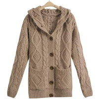Single Breasted Cable Knit Casual Hooded Cardigan in Light Coffee or Deep Grey