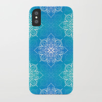 Aqua Mandala Pattern iPhone Case by Tanyadraws