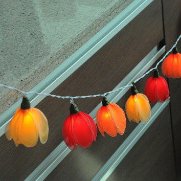 20 beautiful yellow red orange Tulip flower string light patio hanging wedding living room bedroom party display home decor