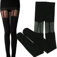 Sexy Fashion Vintage Stockings tattoo pantyhose print punk stockings (Size: M, Color: Black) = 1946906052