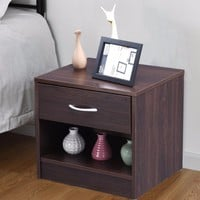 Giantex Nightstand End Table Storage Display Bedroom Furniture Drawer Shelf Brown Modern Bedroom Furniture HW54817NA