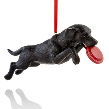 Holiday Lane Black Lab With Frisbee Ornament, Created for Macy's | macys.com