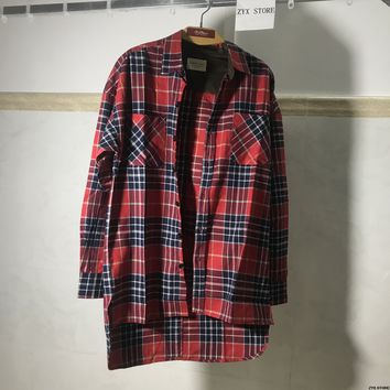 Men Flannel Shirts Tartan Plaid Long Sleeve Button Down Shirt