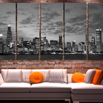 Canvas Print Chicago City Skyline at Night - 3 Panel (3 Piece) Chicago Canvas Art Print - Framed and Streched Crisp Prints
