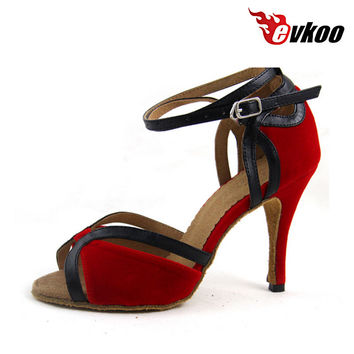 Red High Heels  Latin Dance Shoes Women Square Salsa Dance Shoes Wedding Party Shoes Evkoo-452