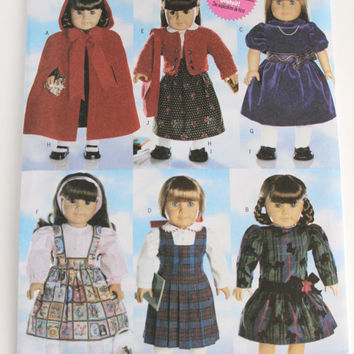 American Girl Doll dress pattern New Butterick six adorable dresses 18 inch doll size winter cape