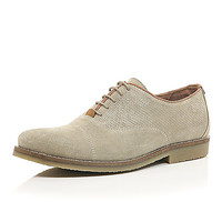 River Island MensStone suede perforated lace up shoes