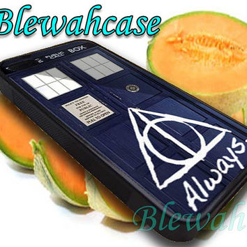 Tardis Doctor Who Deathly Hallows Always Harry Potter  iPhone 4/4S/5/5S/5C Case, Samsung Galaxy S3/S4/S5 Case, iPod Touch 4/5 Case